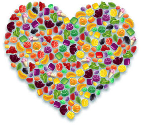 Heart made of Rowntrees® sweets