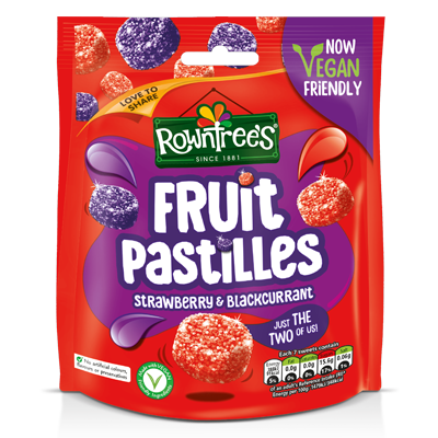 Rowntree's Fruit Pastilles Vegan Friendly Strawberry & Blackcurrant Sweets Sharing Pouch 150g