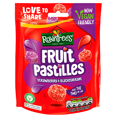 Rowntree's® Fruit Pastilles Strawberry & Blackcurrant Sharing Bag 143g